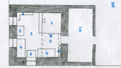 The layout of a dug-out in Presnogorkowka where the Tomaszek family lived. Sketch by Iwona Świętochowska's brother, Jerzy Tomaszek, private archives
